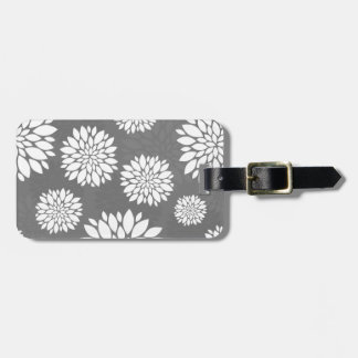 White Contemporary Flowers Luggage Tag