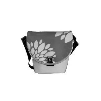 White Contemporary Flowers Messenger Bags