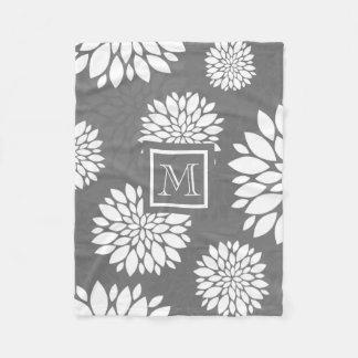 White Contemporary Flowers Personalize It Monogram Fleece Blanket