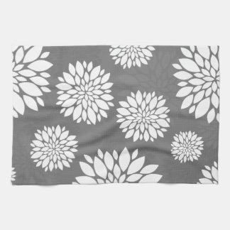 White Contemporary Flowers Tea Towel