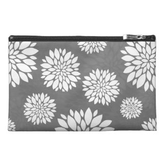 White Contemporary Flowers Travel Accessory Bags