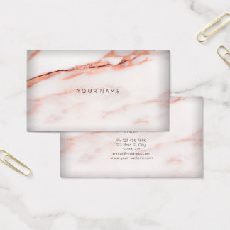White Copper Rose Marble Vip Abstract Minimal Vip Business Card