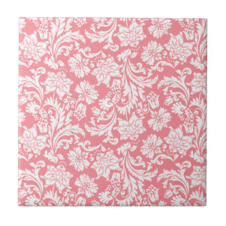 White & Coral-Red Vintage Floral Damasks Ceramic Tile