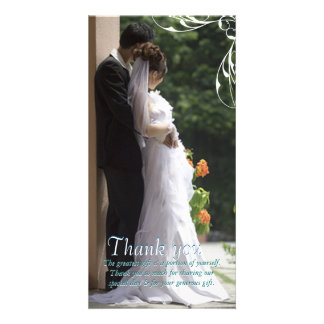 White Corner Swirl Wedding Thank You Photo Cards