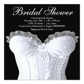 White Corset Damask Bridal Shower Custom Invitations