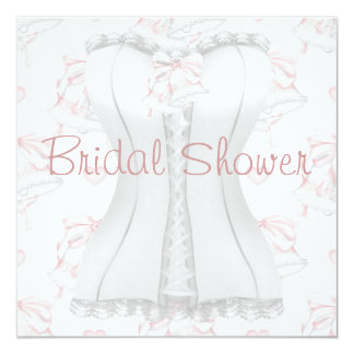White Corset Pink Wedding Bells  Bridal Shower Inv Personalized Announcement