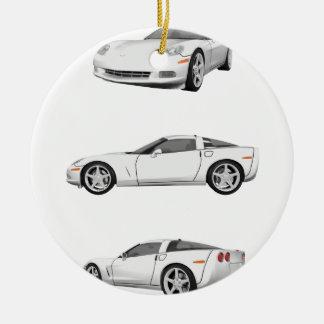 White Corvette: Ceramic Ornament