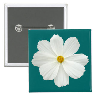 White Cosmos Flower Pinback Buttons