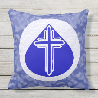 White Coss in Blue Teardrop on White and Blue Outdoor Cushion