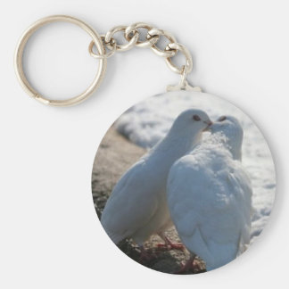 White Couple Doves Keychain