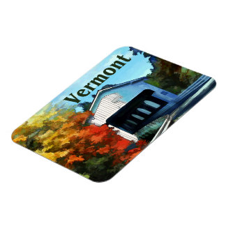 White Covered Bridge  Colorful Autumn Vermont Magnet