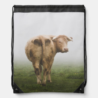 White Cow Bull looking Back in a Foggy Field Drawstring Bag