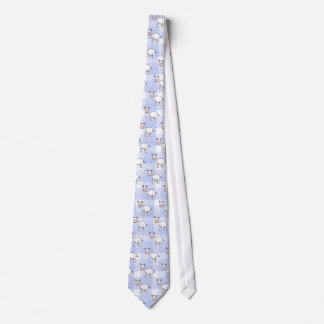 White Cow Cartoon. Blue gingham Background. Tie