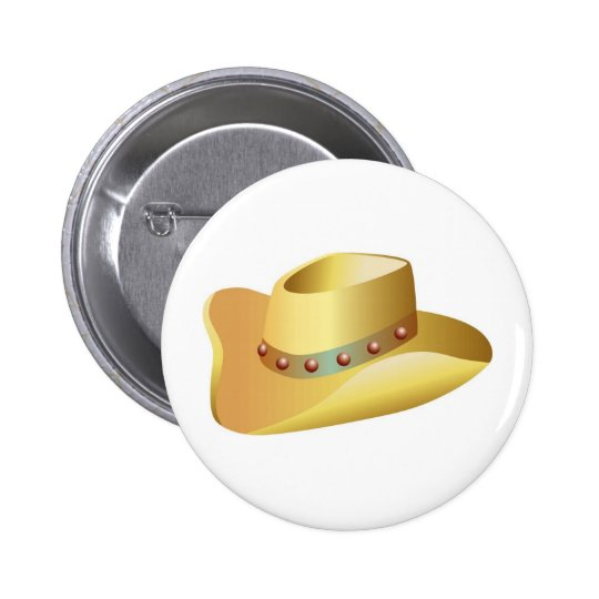 White Cowboy Hat 6 Cm Round Badge