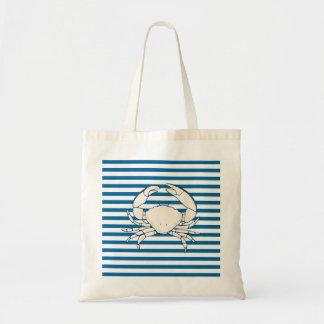 White Crab Blue and White Stripe Tote Bag