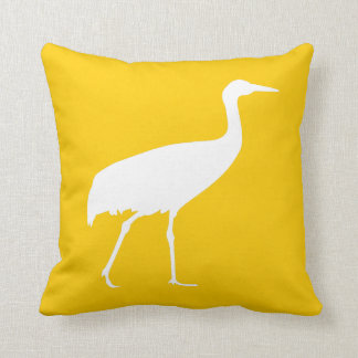 White Crane Pillow