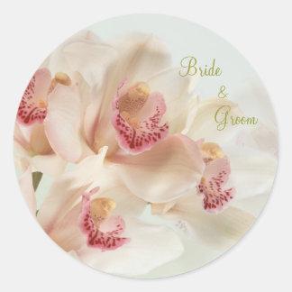 White cream Orchids in full bloom Wedding Round Sticker