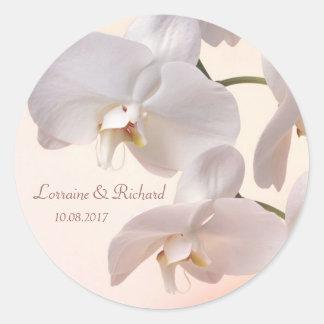 White - cream orchids Wedding Sticker