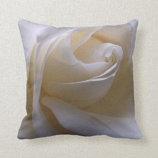 White Cream Rose Throw Pillow