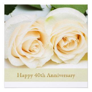 White cream roses 40th Wedding Anniversary Custom Invite