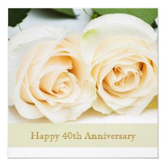White cream roses, 40th Wedding Anniversary Custom Invite