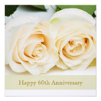 White cream roses 60th Wedding Anniversary Personalized Announcement