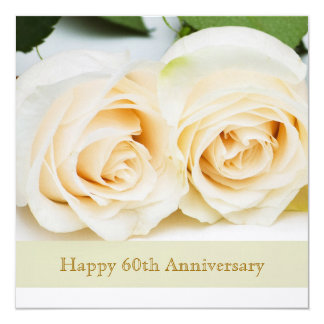 White cream roses, 60th Wedding Anniversary Personalized Announcement