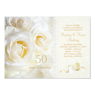 White cream roses, hearts 50th Wedding Anniversary 11 Cm X 16 Cm Invitation Card