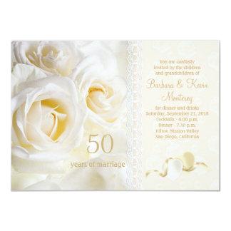 White cream roses, hearts 50th Wedding Anniversary Card