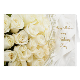 White cream roses. Thank you Mother for my Wedding Greeting Card