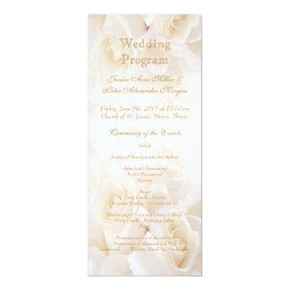 White cream roses Wedding program