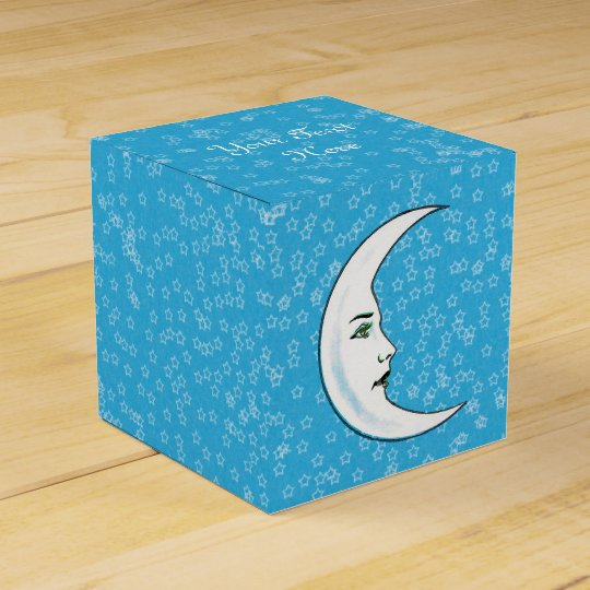 White Crescent Moon With Elegant Face white Stars Favour Box