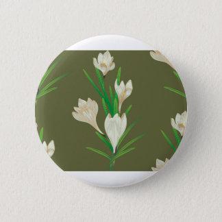 White Crocus Flowers 2 6 Cm Round Badge
