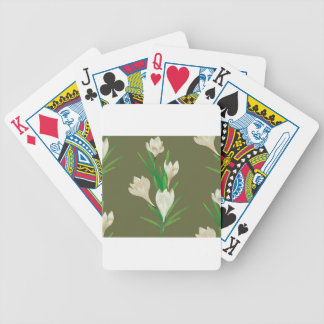 White Crocus Flowers 2 Bicycle Playing Cards