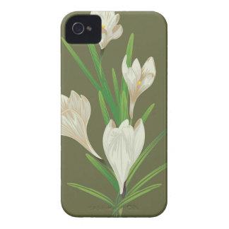 White Crocus Flowers 2 iPhone 4 Cases