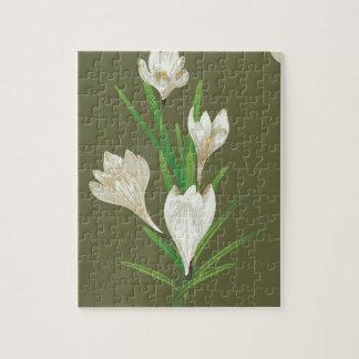 White Crocus Flowers 2 Jigsaw Puzzle