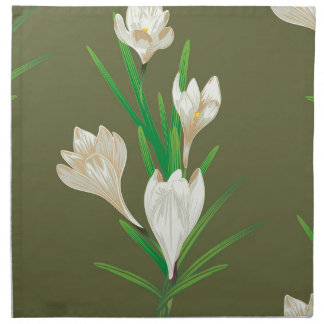 White Crocus Flowers 2 Napkin
