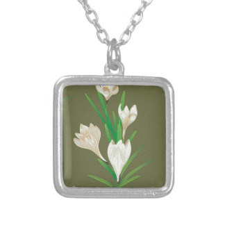 White Crocus Flowers 2 Silver Plated Necklace