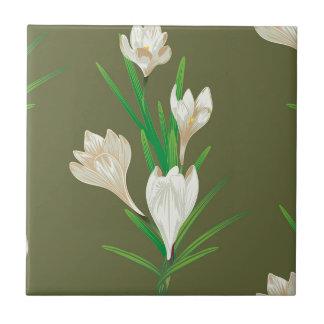 White Crocus Flowers 2 Small Square Tile