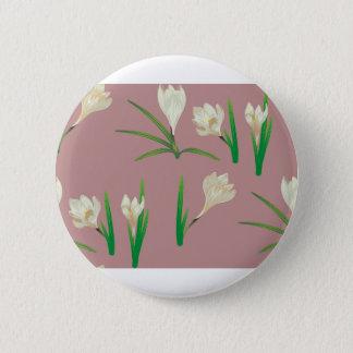 White Crocus Flowers 6 Cm Round Badge