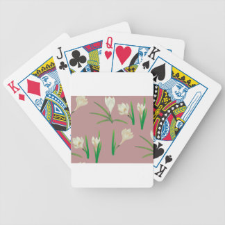 White Crocus Flowers Bicycle Playing Cards