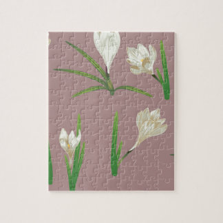 White Crocus Flowers Jigsaw Puzzle