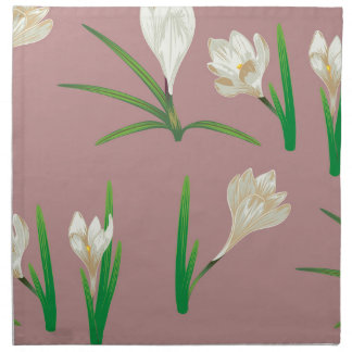 White Crocus Flowers Napkin