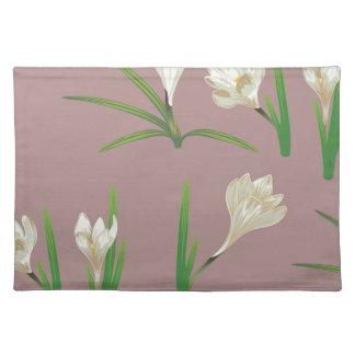 White Crocus Flowers Placemat