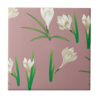 White Crocus Flowers Small Square Tile