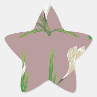 White Crocus Flowers Star Sticker