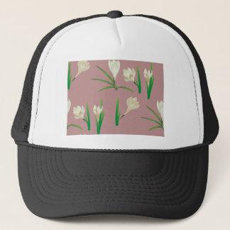 White Crocus Flowers Trucker Hat