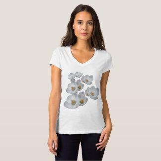 White Crocuses Spring Flowers V-neck Tshirt