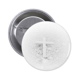 White Cross 6 Cm Round Badge