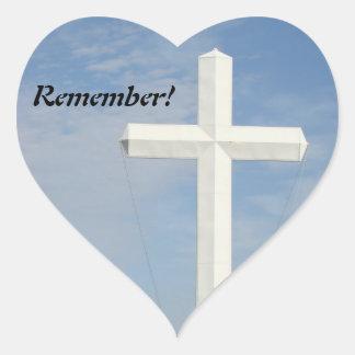 White Cross, customize Heart Sticker